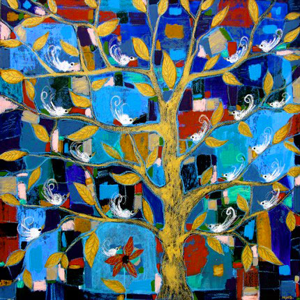 margaret blanchett folk art birds tree