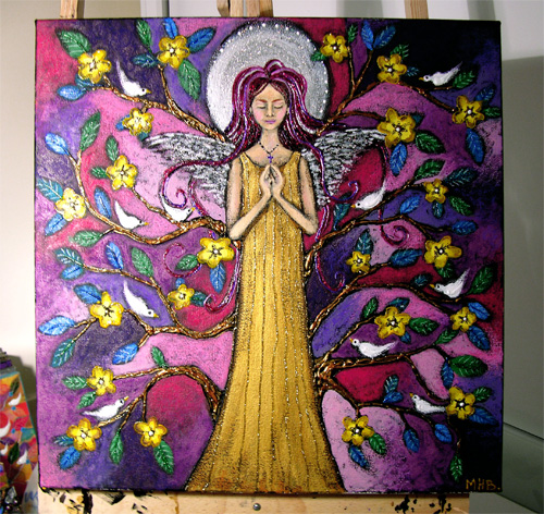 maggie blanchett angel spring folk art