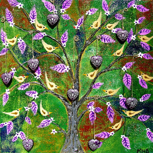 Margaret Blanchett folk art tree birds